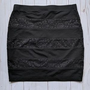 Black Bodycon Lace Mini Skirt